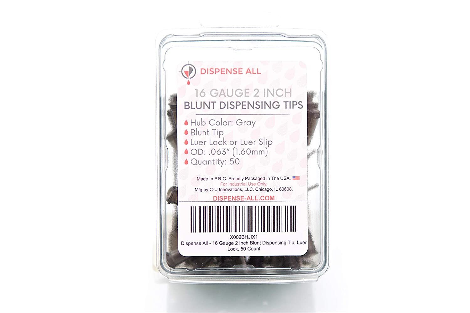 Dispense All - 16 Gauge 2 Inch Blunt Dispensing Tip, Luer Lock, 50 Count