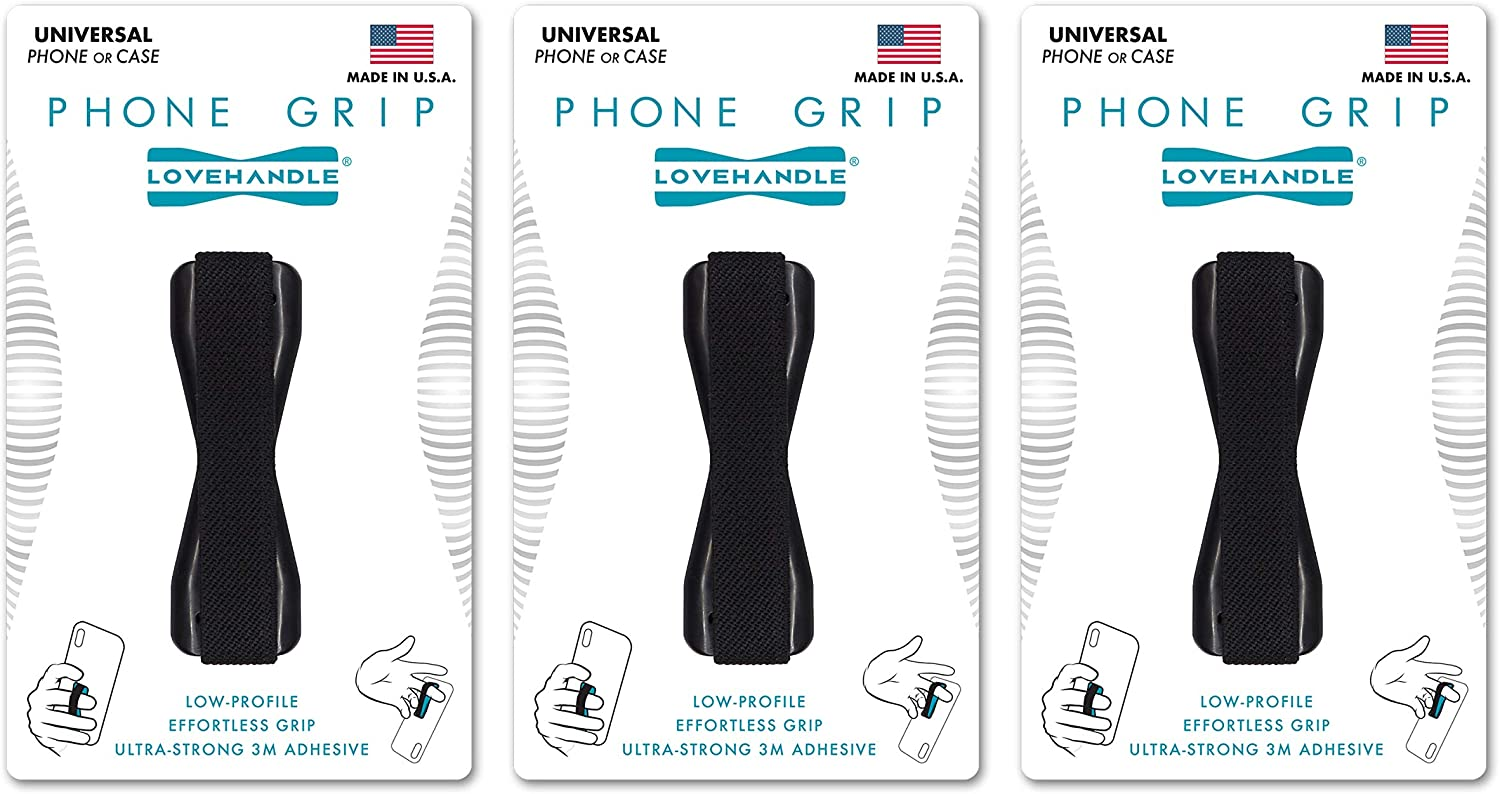 LoveHandle Universal Grip for Smartphone and Mini Tablet - Black Elastic Strap with Black Base - Pack of 3 (LH-03)