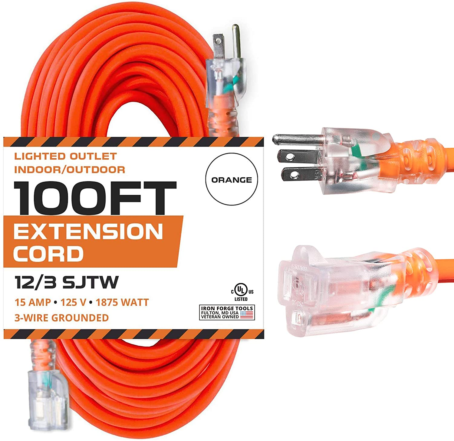 100 Ft Orange Extension Cord - 12/3 SJTW Heavy Duty Lighted Outdoor Extension Cable with 3 Prong Grounded Plug for Safety - Great for Garden & Major Appliances