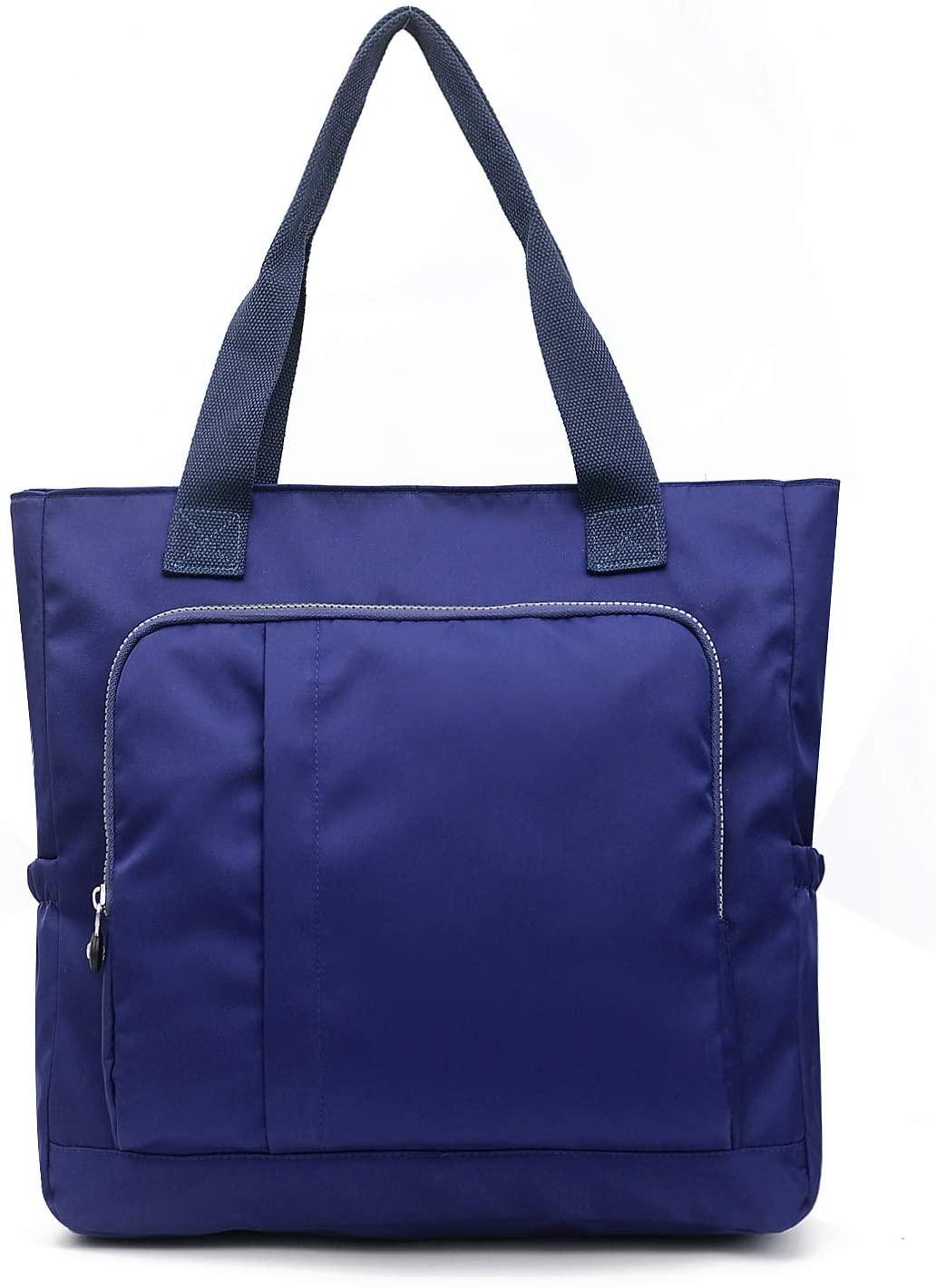 Big Waterproof Lightweight Nylon Tote Handbag Top Zipper Shoulder Bag for Work Travel Daily Shopping Gym Beach (Blue)
