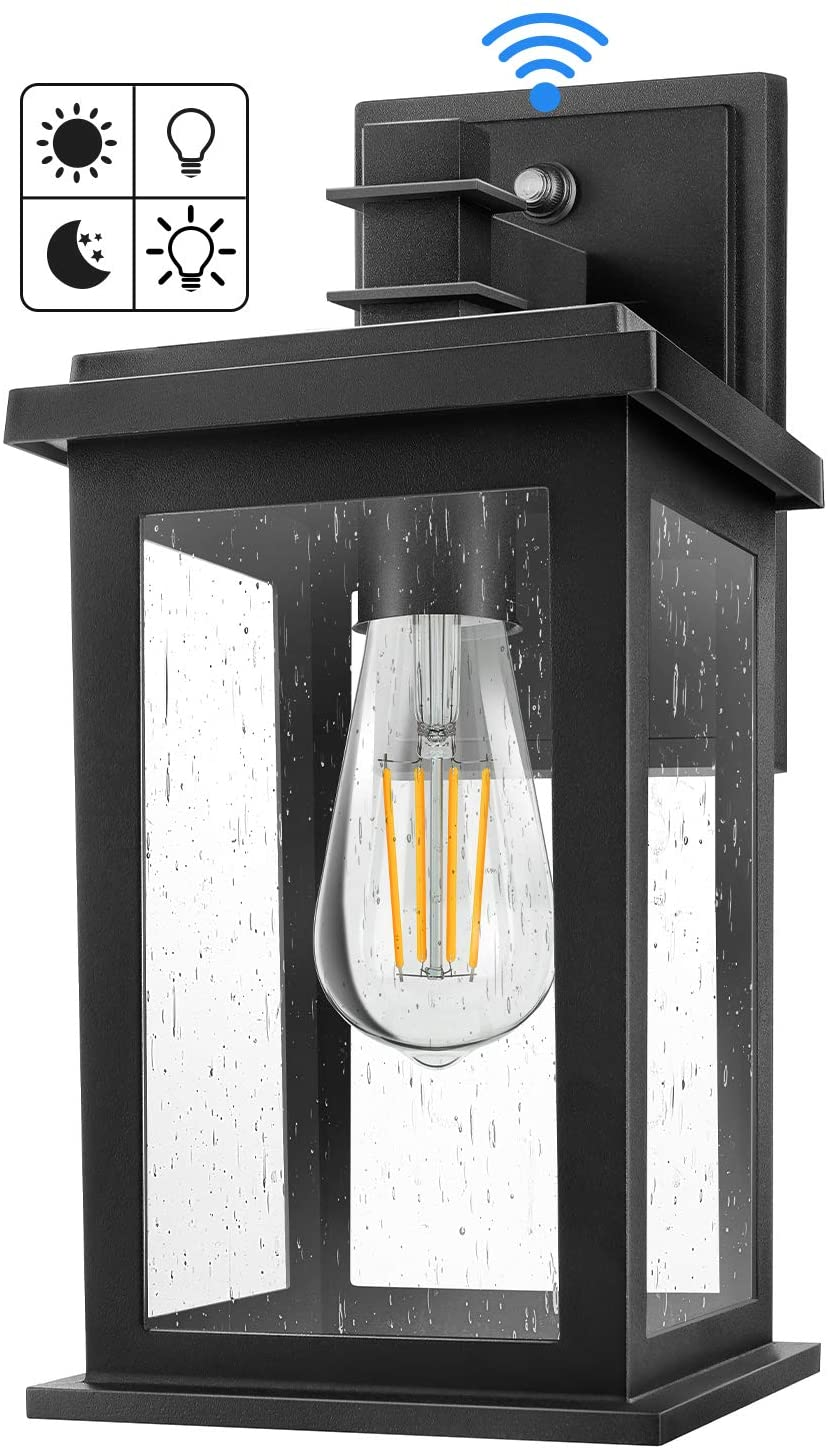 Dusk to Dawn Sensor Outdoor Wall Light Fixtures, Exterior Wall Lantern with E26 Base Socket, Wall Mount Sconces Wall Lamp with Seeded Glass for Garage, Doorway, Anti-Rust, Waterproof, Matte Black