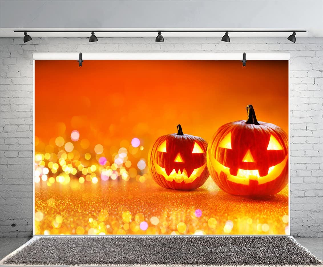 Leyiyi 5x3ft Photography Background Happy Halloween Backdrop Pumpkin Lamp Gloomy Forest Spider Net Gothic Skull Candle Vintage Grunge Table Bokeh Costume Canival Photo Portrait Vinyl Studio Prop