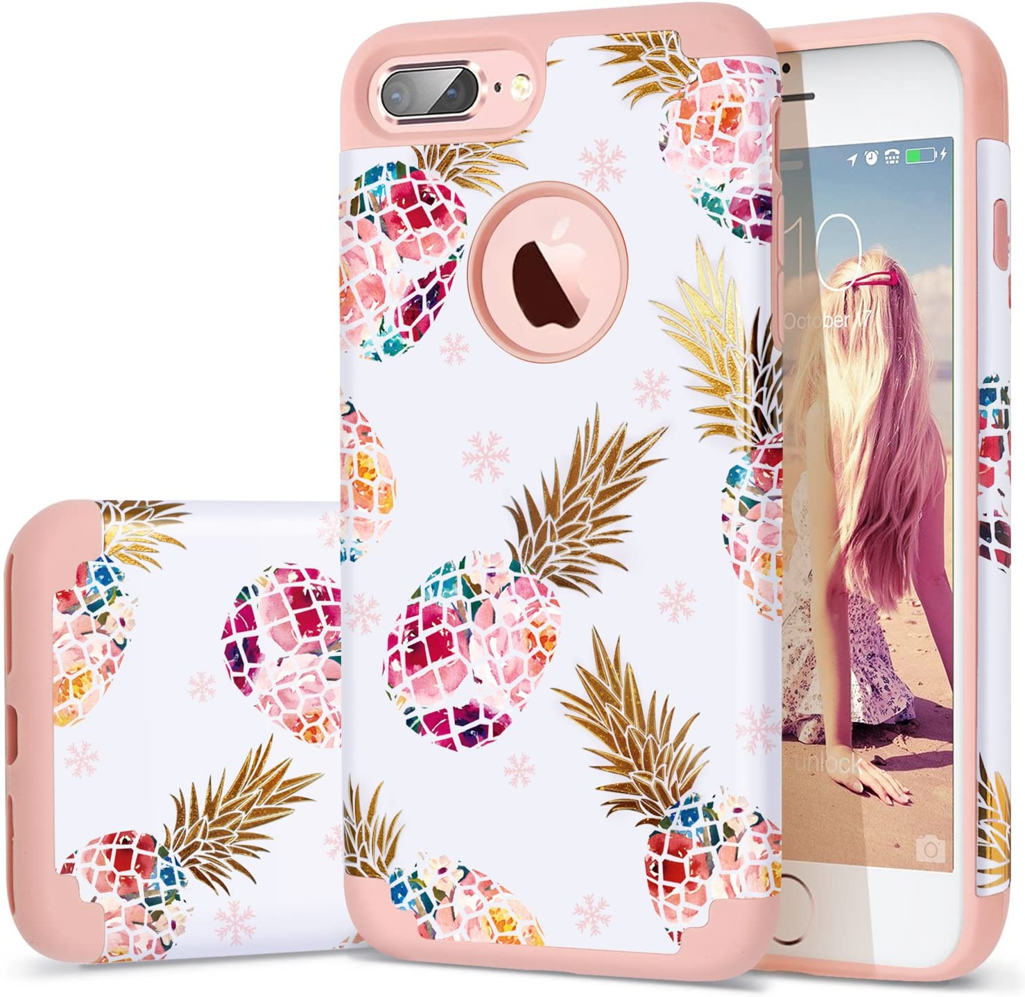 Fingic iPhone 7 Plus Case,iPhone 8 Plus Case Pineapple, Floral Pineapple Ultra Slim Case Hard PC Soft Rubber Anti-Scratch Shockproof Protective Case Cover for iPhone 7/8 Plus (Pink02)