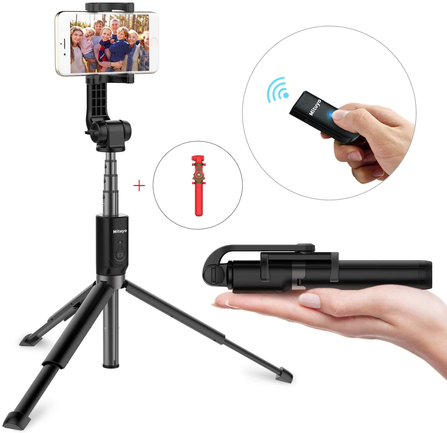 Mituyo, Extended Version-Bluetooth Selfie Stick Tripod Monopod with Wireless Remote Shutter Compatible with iPhone, Samsung, Huawei, Other Smartphones (Black)¡­