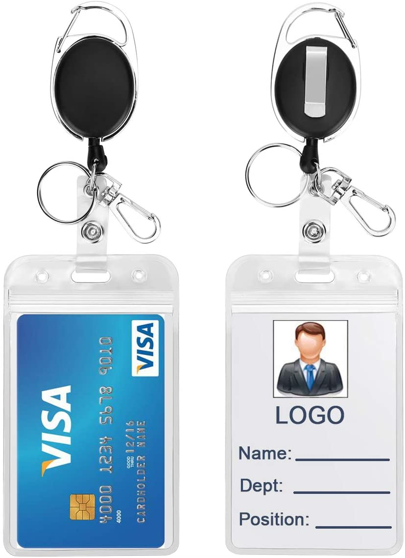 Retractable Reel Clips Holder with ID Badge Holder Vertical Zipper Waterproof Resealable Clear Plastic ID Name Badges Holders Pack of 2