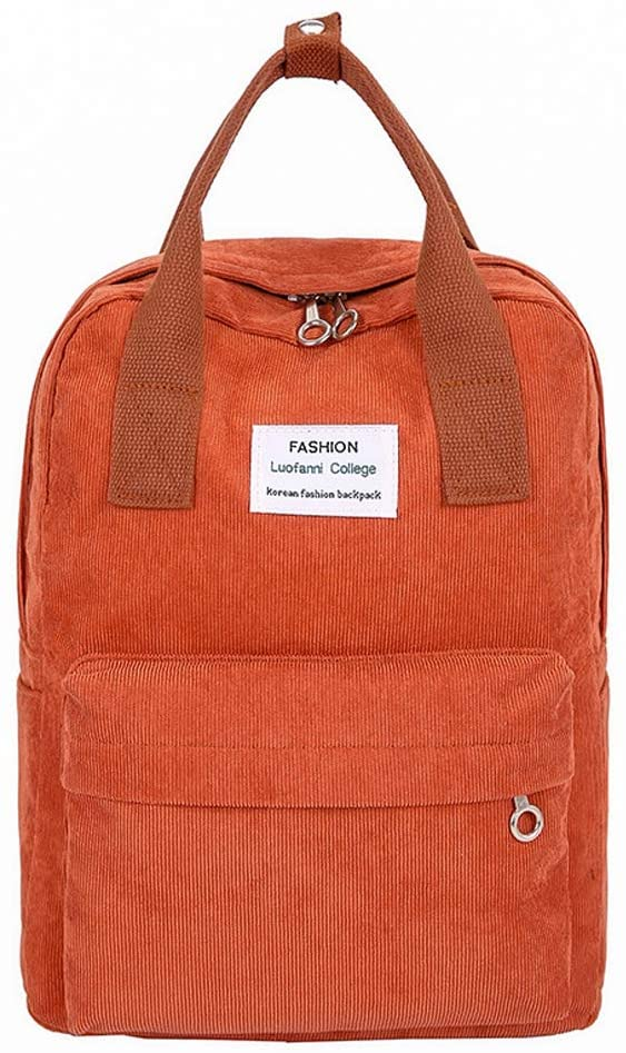 Soft Corduroy Women Girls Backpack for School College University Laptop Book Bag Large Capacity Casual Daypack Fit for 13 Inch Notebook Multiple Pockets (Orange)