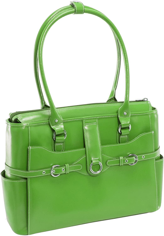 McKlein, W Series, Willow Springs, Top Grain Cowhide Leather, 15 Leather Ladies Laptop Briefcase, Green (96561)