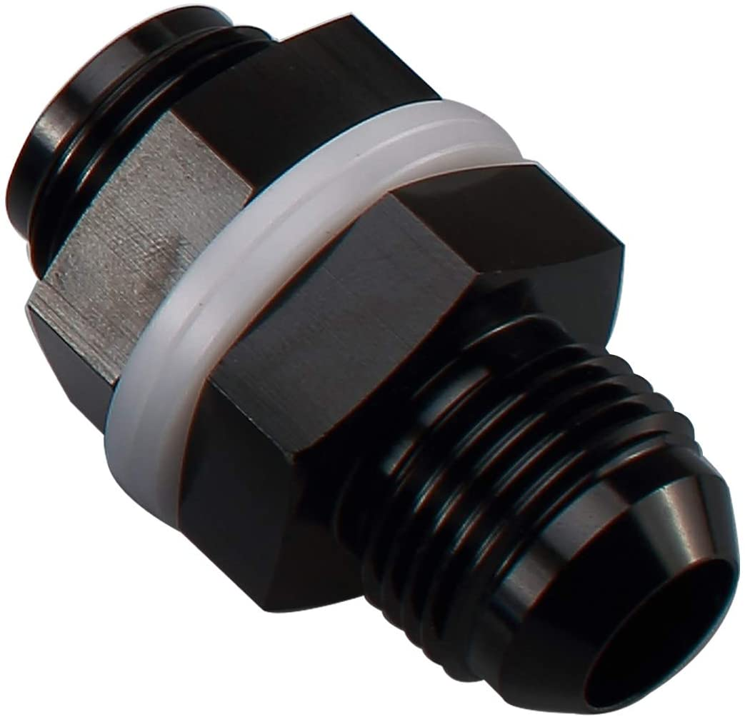 12AN AN12 Straight Black Aluminum Fuel Cell Bulkhead Adapter Fitting -12 AN Locking Nut With Oil-resistant Washer