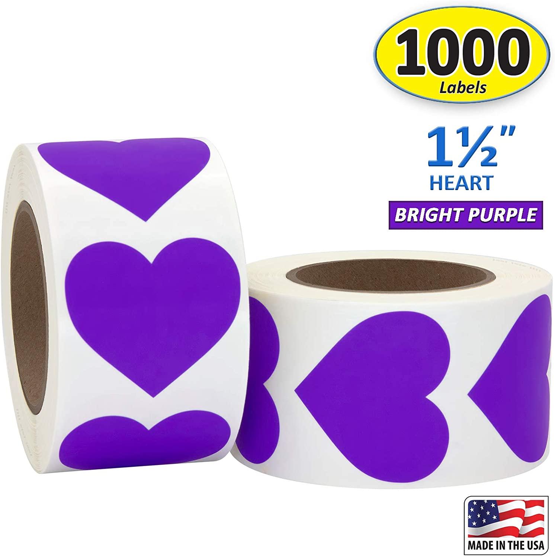 Purple Heart Shaped Sticker Labels, 1 1/2