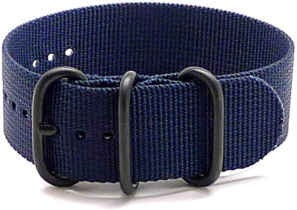 DaLuca Ballistic Nylon Military 1 Piece Watch Strap - Navy (PVD Buckle) : 26mm