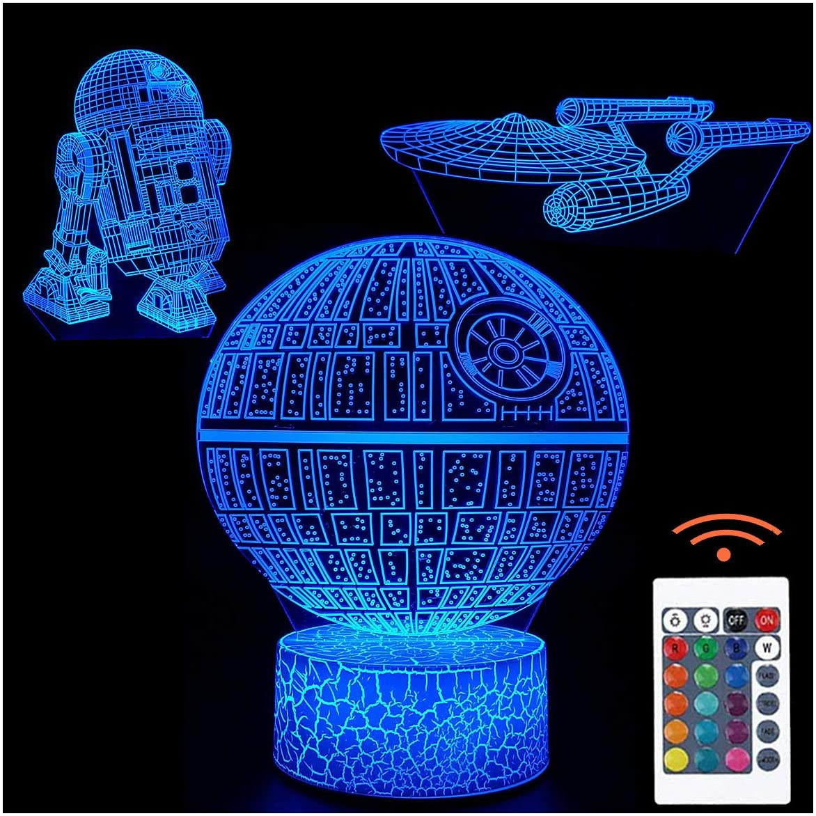 3D Illusion Night Light Visual Creative LED Desk Lamp Touch Control 7 Color Change for Home Decorations or Kids Holiday Gifts (3 Pattern)