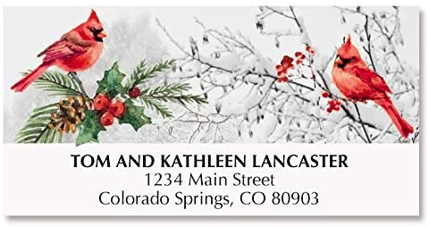 Cardinal Stream Deluxe Christmas Address Labels - Set of 48, Large Self-Adhesive, Flat-Sheet Labels