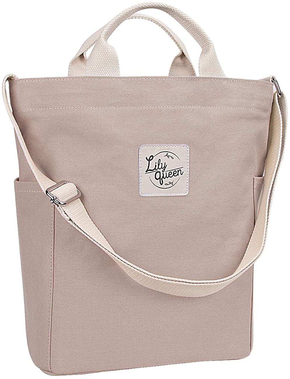 Lily Queen Women Canvas Tote Handbags Casual Shoulder Work Bag Crossbody