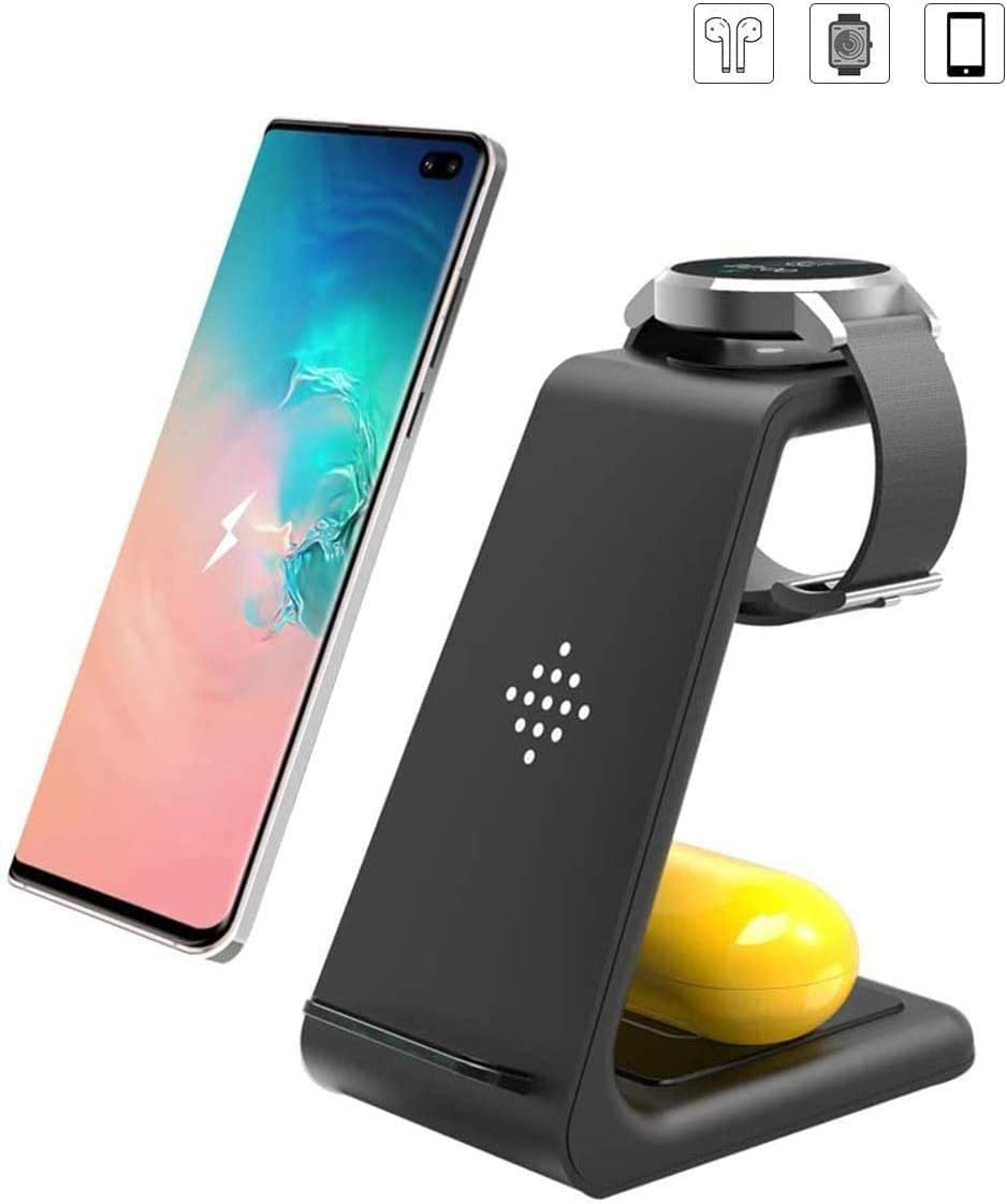 Wireless Charger,3 in 1 Qi-Certified Fast Wireless Charging Station Charger Stand for Galaxy Buds & Galaxy Watch Active 40mm SM-R500/ 46mm SM-R800/Gear S2/Gear S3 Frontier,Samsung S20/S10/S9/Note 10/9