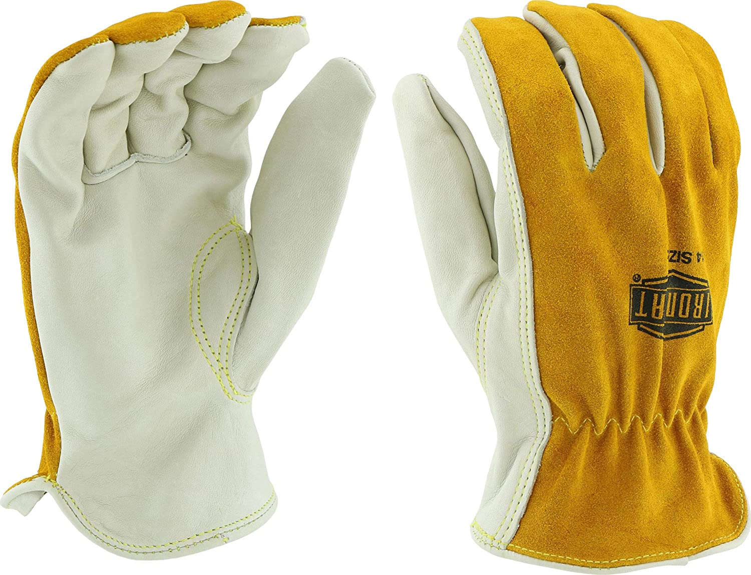 West Chester IRONCAT 9414 Premium Grain/Split Cowhide Leather Driver Work Gloves: Tan/Grey, X-Large, 1 Pair
