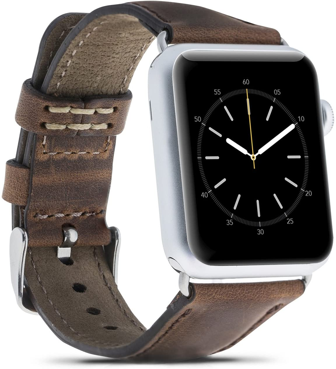 Bouletta Case Handmade Genuine Leather Replaceable Watch Band Wrist Strap for Apple Watch Series 5-4 ( 44 mm ) / 3-2-1 ( 42 mm ) ( Antique Brown, Rosegold Adaptor )
