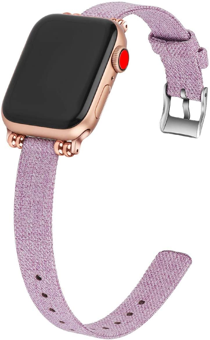 Series 5 40mm Slim Woven Cloth Bands Compatible with Apple Watch Band, Soft Cloth Fabric Canvas Women Watch band for iWatch Series 5/4/3/2/1(preple,38/40mm)