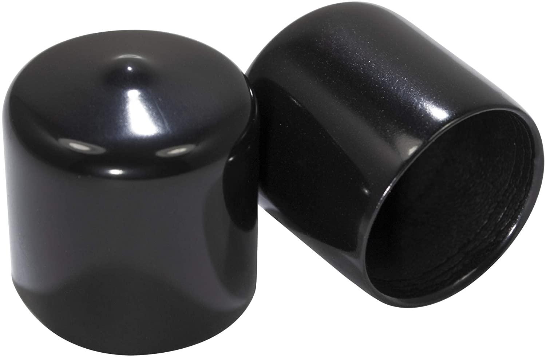 Prescott Plastics 1 Inch Round Vinyl End Cap in Black or White, Flexible Pipe Post Rubber Cover (20, Black)