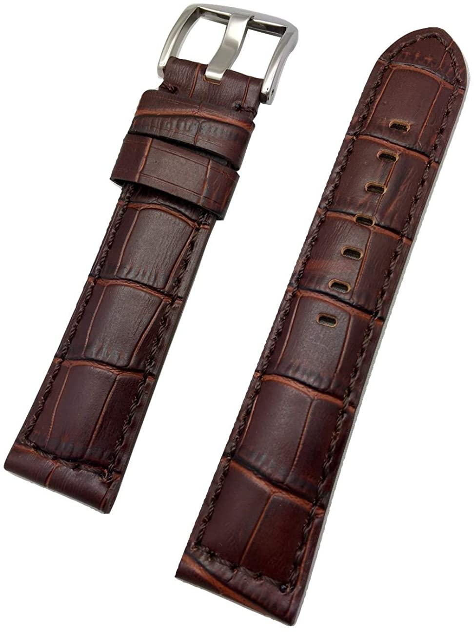 22mm Long, Brown Panerai Style, Sporty Genuine Leather Watch Band | Alligator Crocodile Grained Medium Padded Replacement Wrist Strap Bracelet that brings New Life to Any Watch (Mens Long Length)