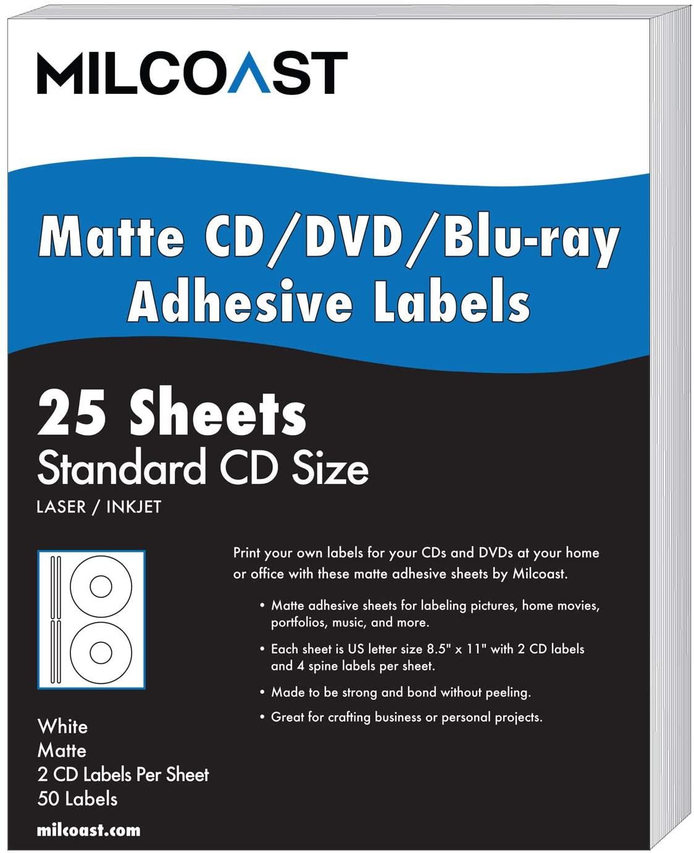 Milcoast White Adhesive DIY CD/DVD/Blu-ray Disc Labels - for Laser/Inkjet Printers - 50 Label Sets (25 Sheets)