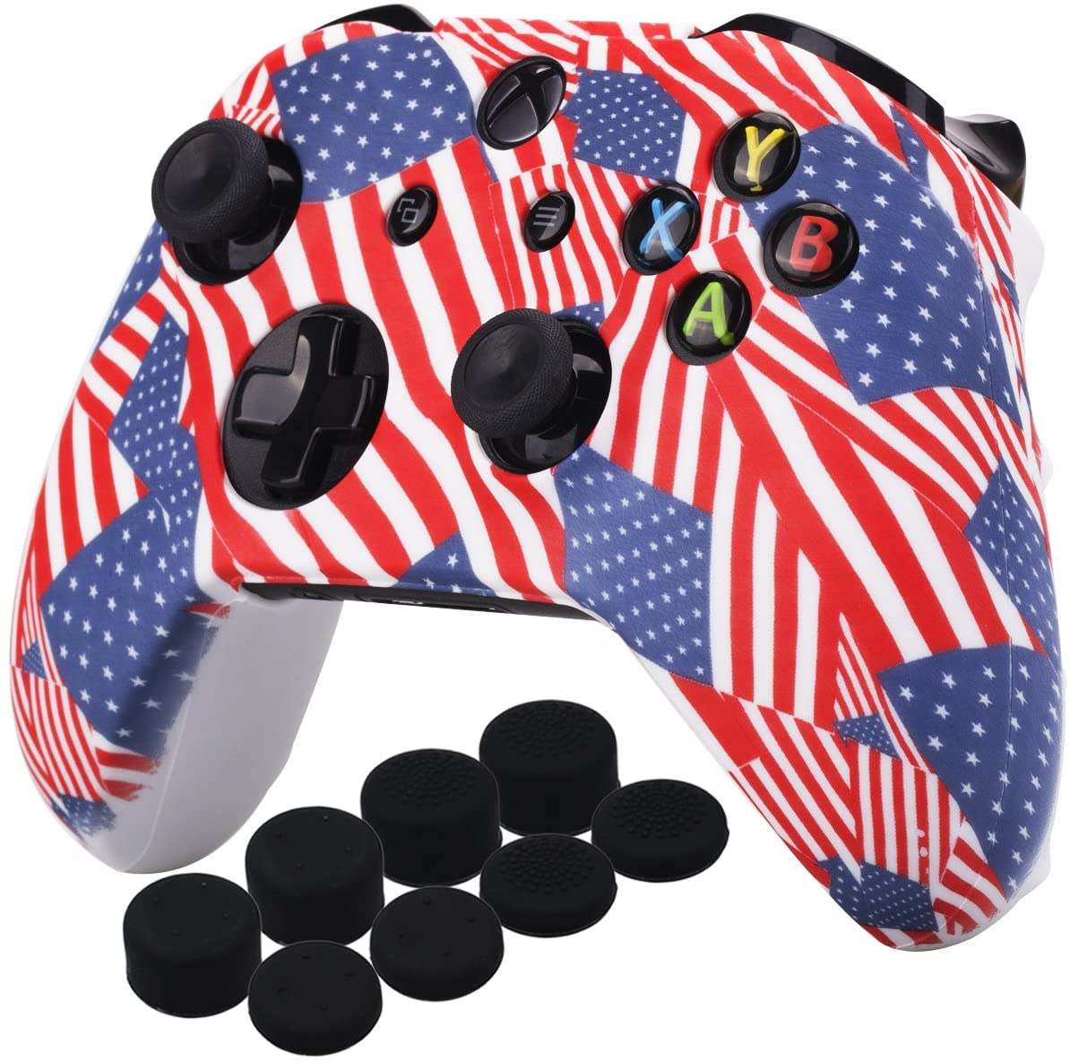 YoRHa Printing Rubber Silicone Cover Skin Case for Xbox One S/X Controller x 1(US Flag) with PRO Thumb Grips x 8