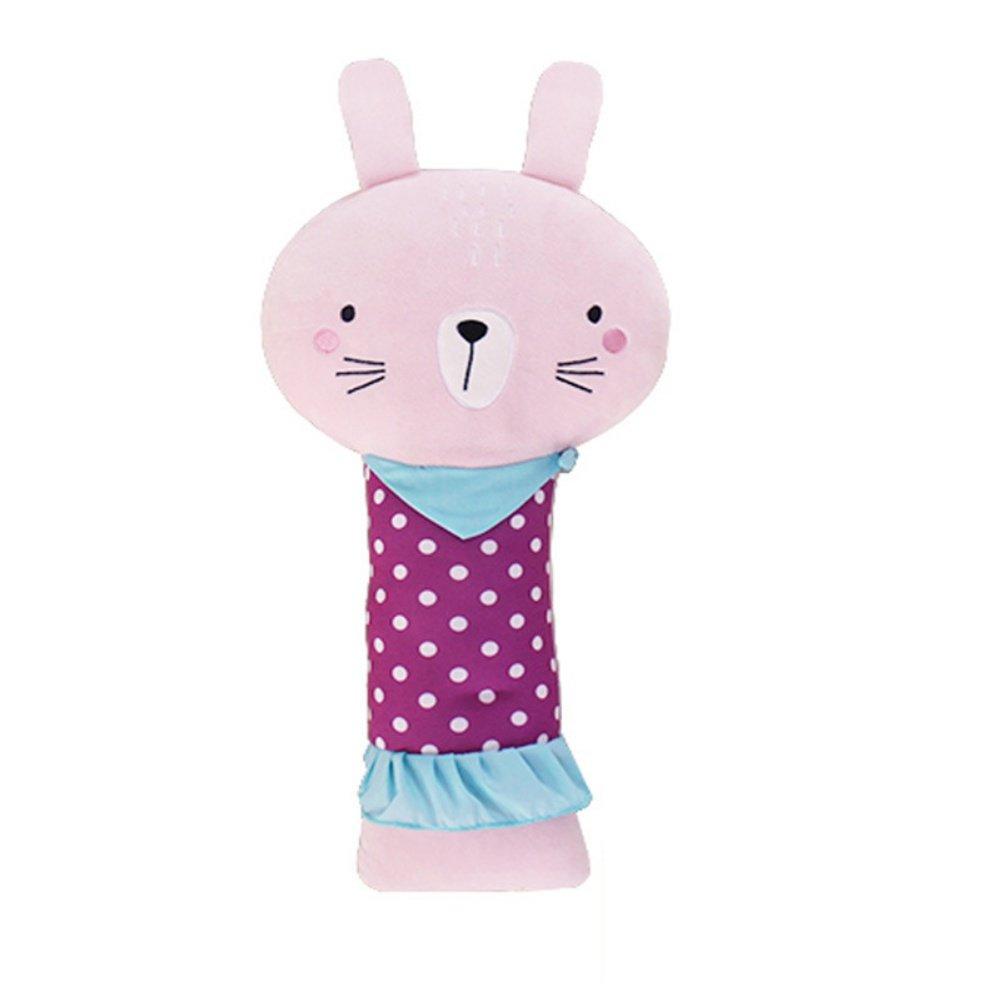 Apomelo Stuffed Rabbit Car Seat Belt Pillow for Kids, Road Trip Neck Support Pillow Adjustable Vehicle Car Seat Strap Shoulder Pads Pillow, Lady Rabbit