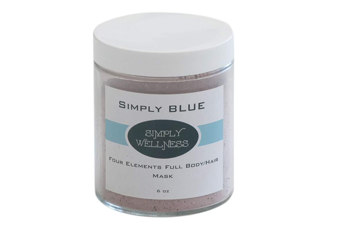 Simply Blue Face, Body & Hair Mask - Blue Green Algae Spirulina + Activated Charcoal, Spa Quality Pore Reducer Mask - Treats Blackheads Dry & Sensitive Skin, Acne, Oily Skin - 6 Ounce