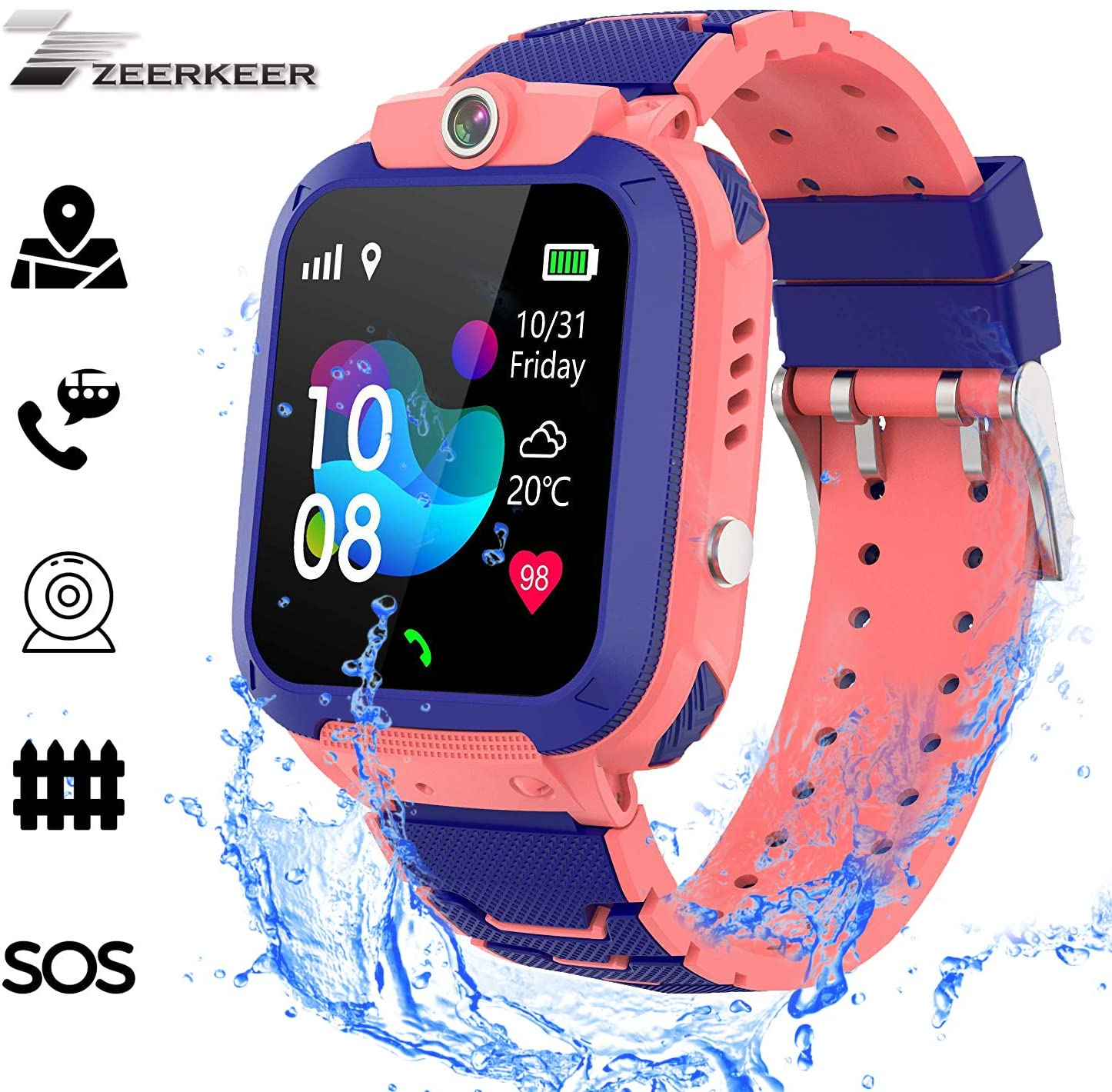 Kids Smartwatch, Zeekeer Music Game SOS Smart Watch for Kids with Music Player/SIM Card Slot/Camera Learning Gifts for Boys and Girls Birthday