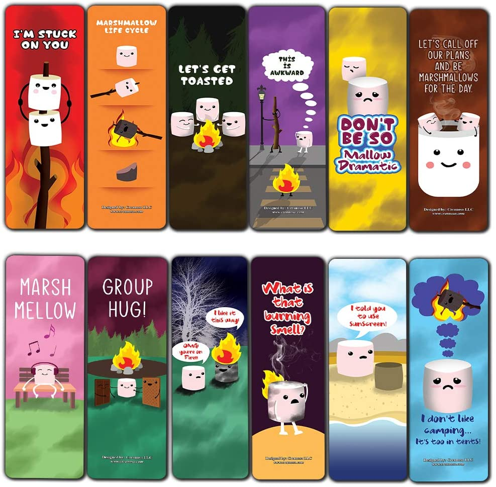 Cute Marshmallow Puns Jokes Bookmarks (60-Pack) - Unique Stocking Stuffers Gifts for Boys & Girls, Unisex Adults – Cool Book Page Clippers Collection Set for Kids – Awesome Giveaways – Page Binder