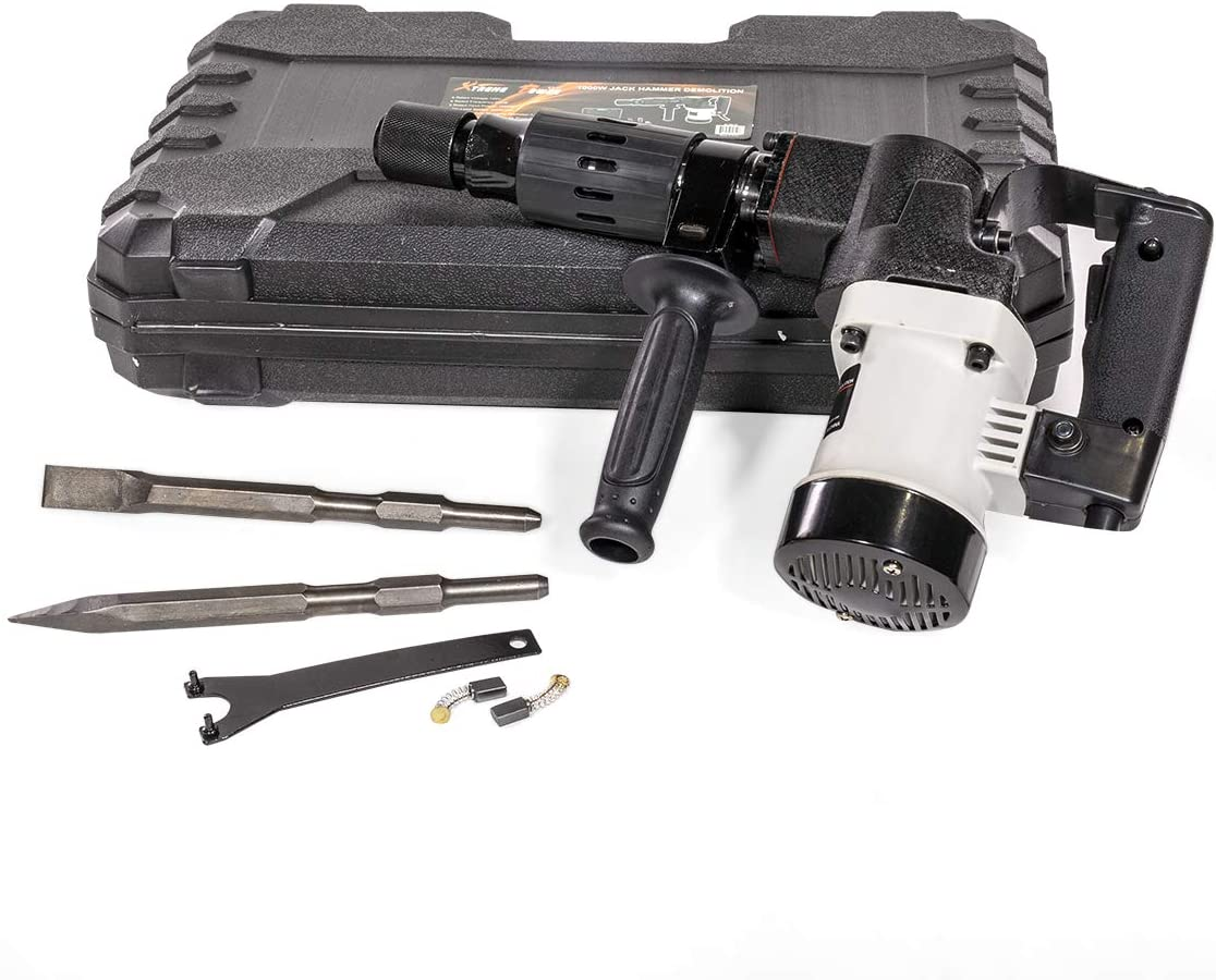 XtremepowerUS Demolition Electric Hammer Jack Hammer Handle 1000W Concrete Breaker Flat and Point Chisel Bits with Case