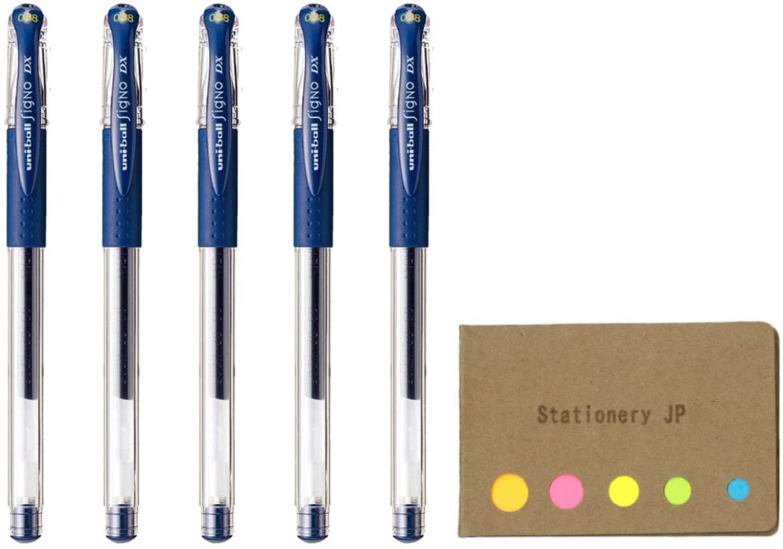 Uni-Ball Signo Capped Gel Ink Pen, UM-151DX, Micro Point 0.38mm, Blue Black Ink, 5-Pack, Sticky Notes Value Set