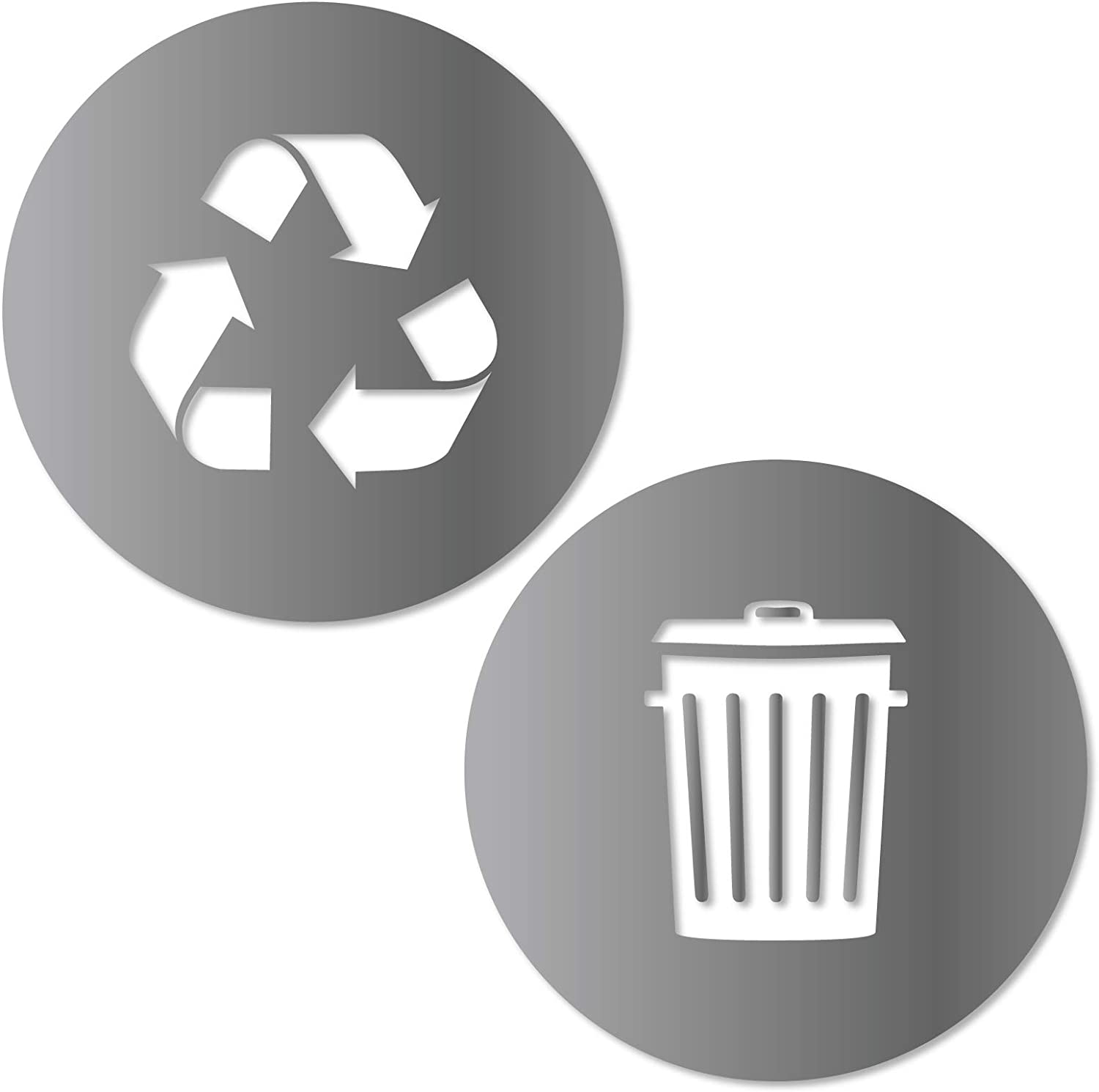 Recycle and Trash Sticker Logo Style 2 (5.5in x5.5in) Symbol to Organize Trash cans or Garbage containers and Walls - Small Silver Metallic Vinyl Decal Sticker