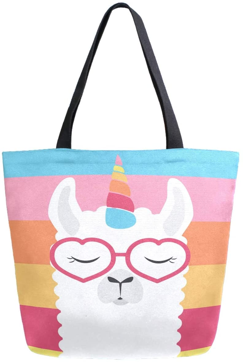 ZzWwR Cute Cartoon Llama Rainbow Stripes Extra Large Canvas Portable Tote Shoulder Bag for Gym Beach Weekender School Travel Daily Reusable Grocery Shopping