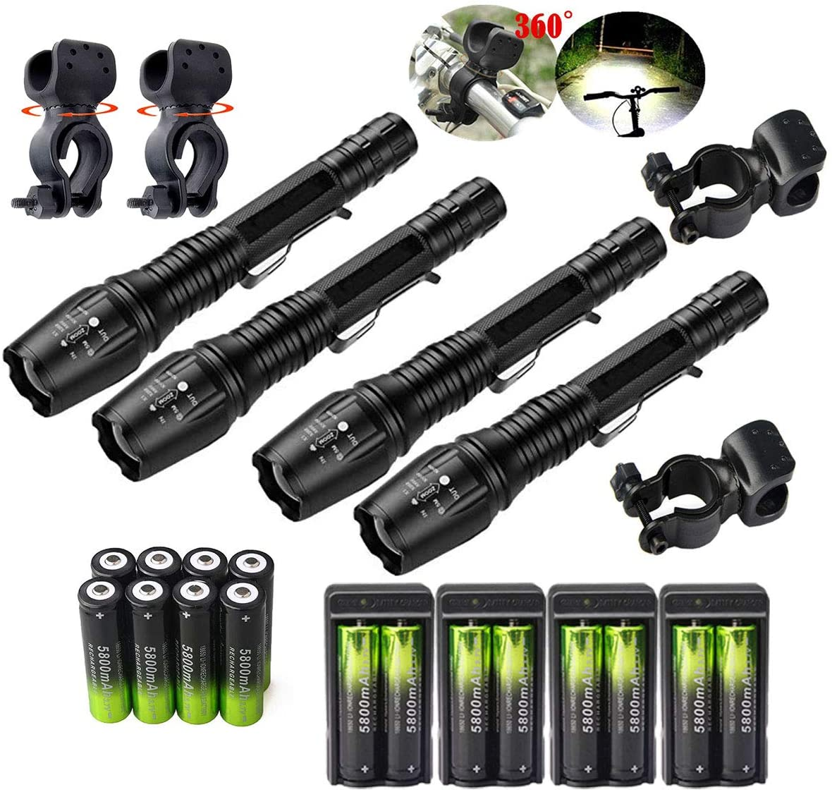 4 Set Tactical 90000LM Zoomable 5 Modes Portable LED 18650 Flashlight 5800mAh Rechargeable Batteries Dual Smart Battery Chargers Bike clip for Camping Hiking Running Outdoor