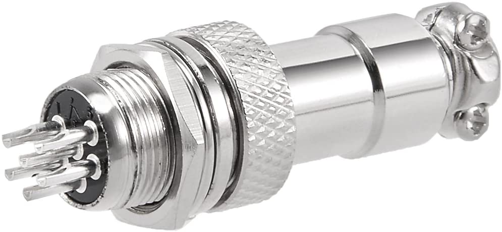 uxcell Aviation Connector Plug, 12mm 6P 5A 125V GX12-6 Waterproof Male Wire Panel Power Chassis Metal Fittings Aviation Wire Connector Socket Silver Tone