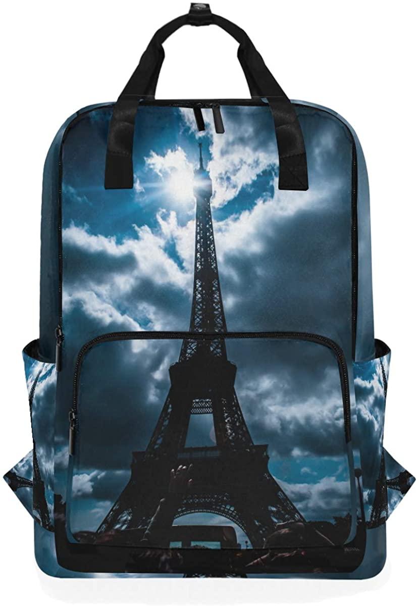3D Eiffel Tower Cloud Sky Backpack School Travel Daypack Laptop College Bookbag 14 Inch Doctor Bag