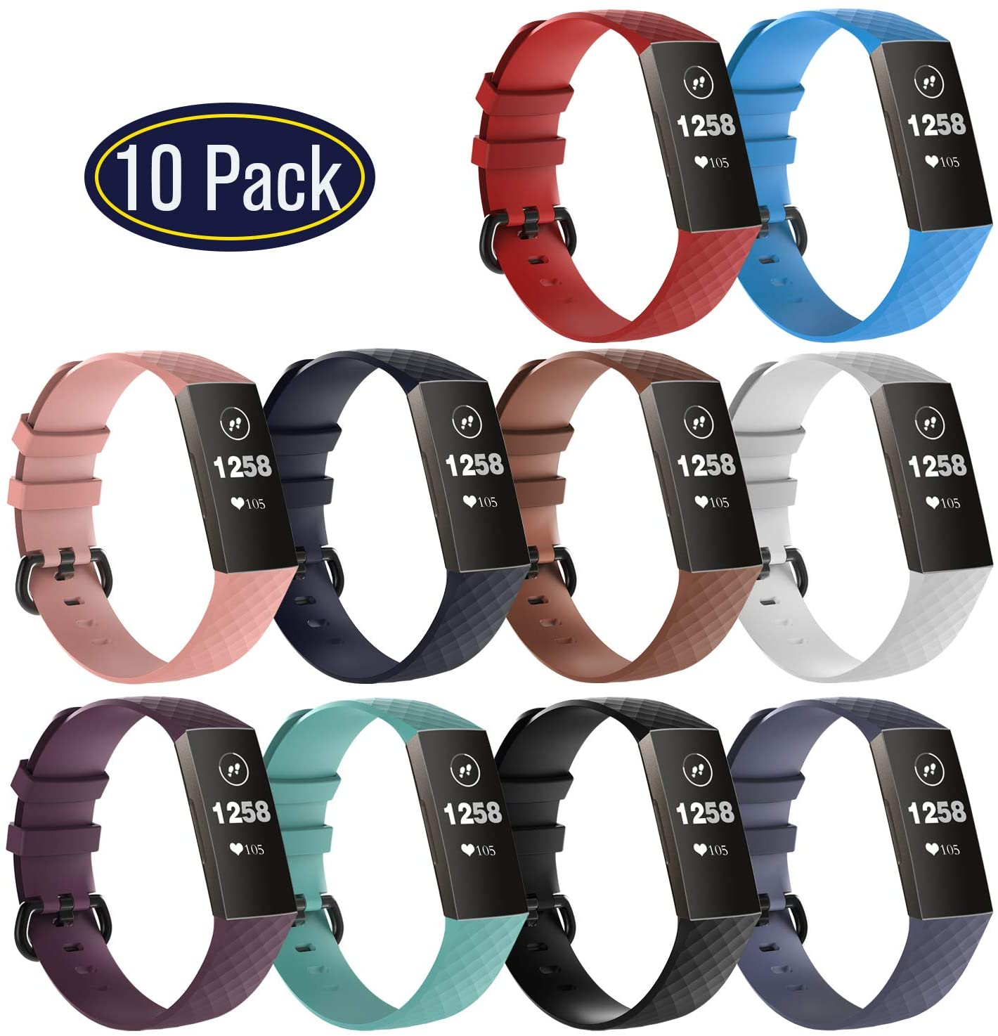 KingAcc 10 Pack Compatible with Fitbit Charge 3 Bands and Charge 4, Adjustable Replacement Soft Silicone Wristbands for Fitbit Charge 3 & Fitbit Charge 4 for Women Men Small Large…