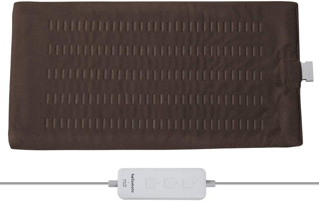 Weighted Heating Pad, Electric Heating Pads for Back Pain and Cramps Relief-Softness Heat Pad with Moist & Dry Heat Therapy Options, Auto Shut Off and Machine Washable, Large Size 12'' x 24 ''-W180