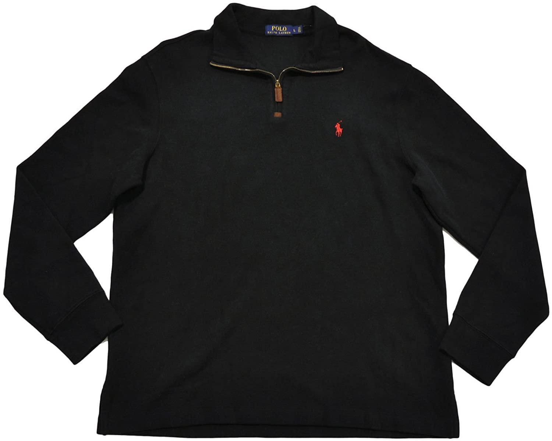 Polo Ralph Lauren Mens FrenRib Quarter Zip Sweater (XL, Solid Black)