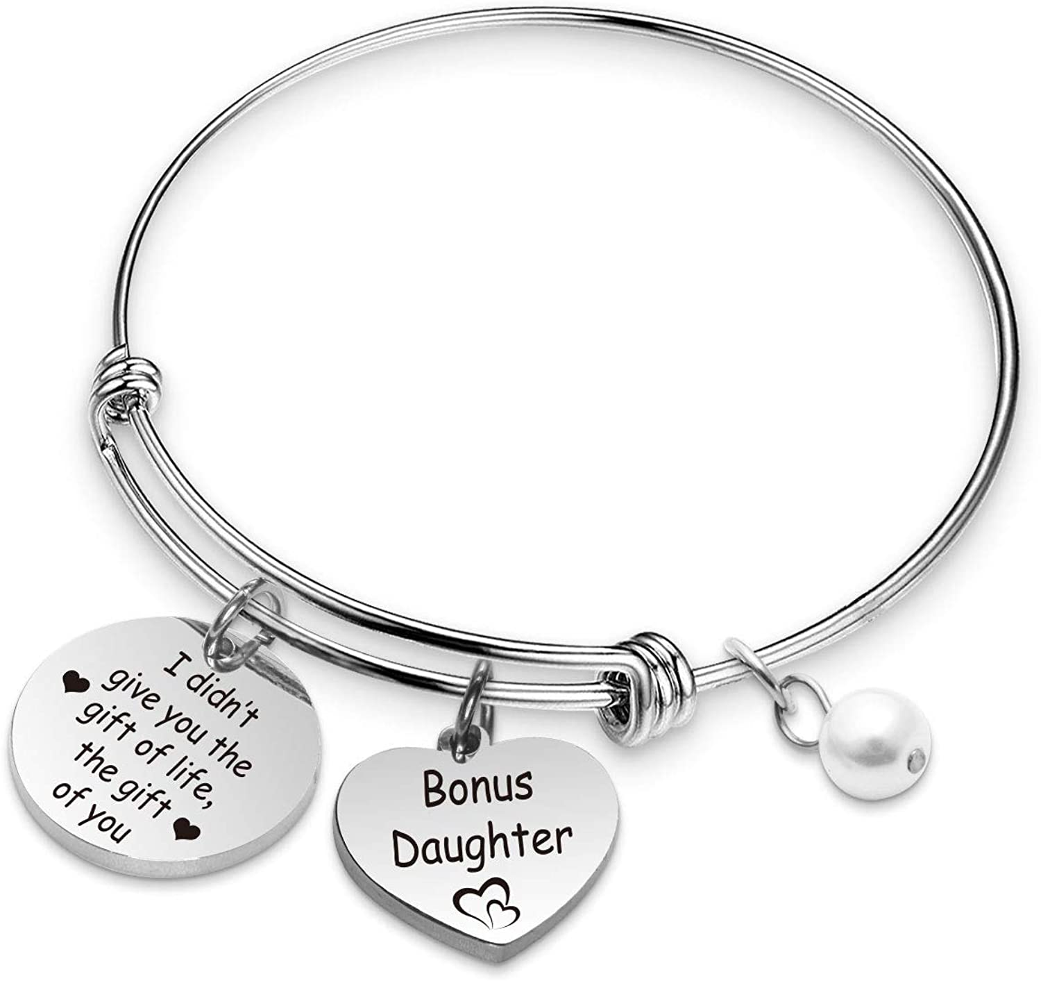 WENATA Daughter in Law Bracelet Stepdaughter Gift I Didn't Give You The Gift of Life The Gift of You Bonus Daughter Jewelry Gift