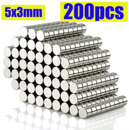 200 pcs Small Industry Scientific Magnetic Disc Handcraft Craft Magnet DIY Project Anti-rust Anti-oxidation for Fridge Office Art Whiteboard Dry Erase Board (5x3mm)