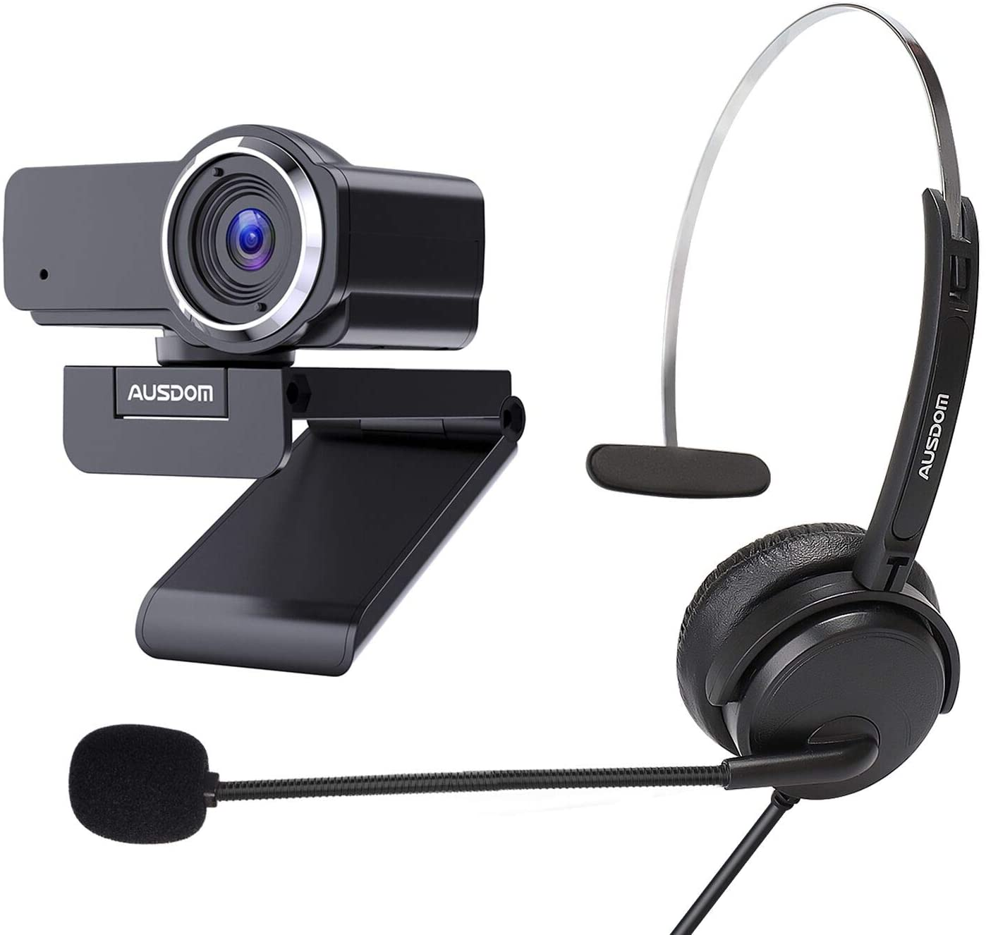 Bundle AUSDOM AW635 FHD 1080p Webcam and AUSDOM BH01 3.5mm Wired Telephone Headset for Work at Home PC Computer