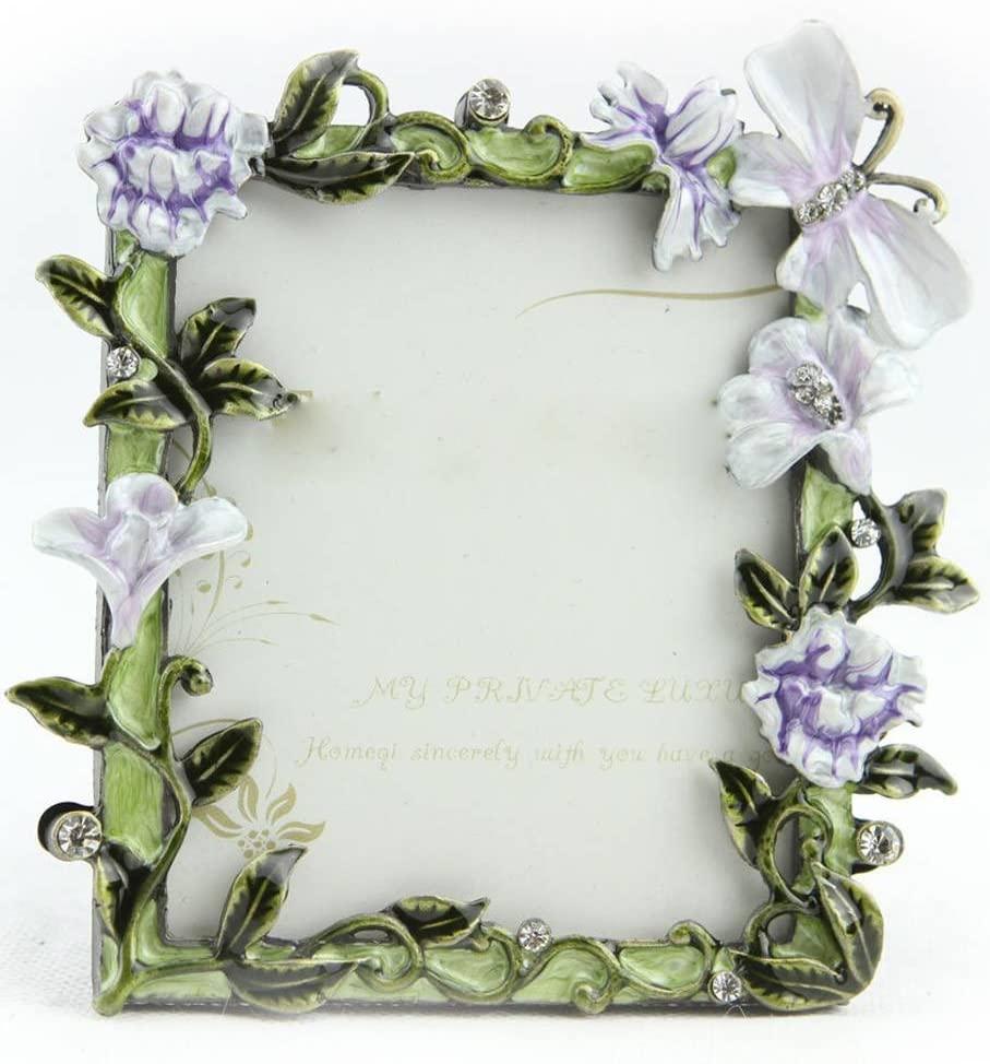 ChezMax Charming Purple Flower Pattern Rectangle Metal Photo Frame Home Decor Desktop Picture Frame Table Top Frame 3