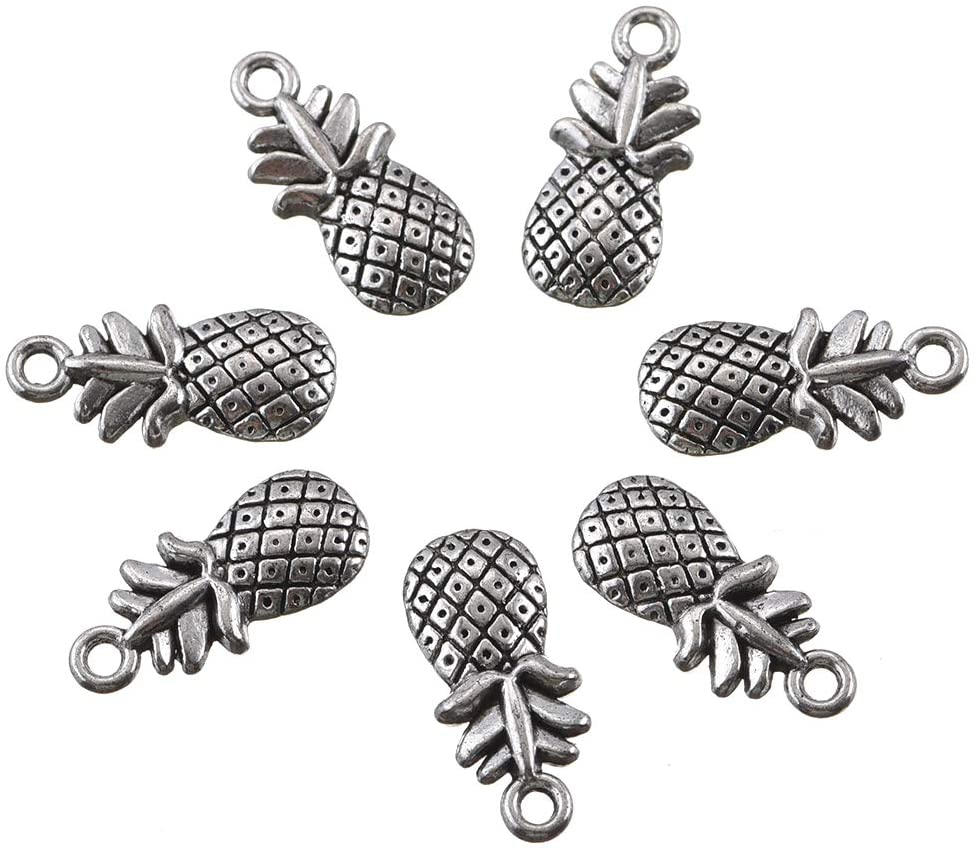 50pcs Antique Silver Pineapple Charms Pendant Jewelry Findings for Jewelry Making Necklace Bracelet DIY 20x9mm (50pcs pineapple)