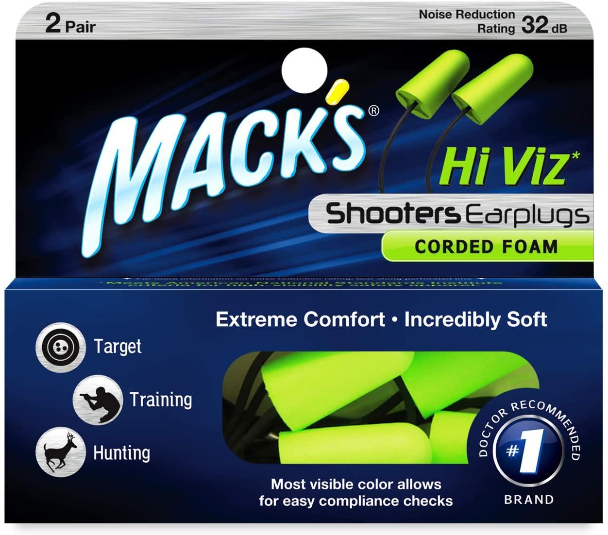 Mack's Hi Viz Corded Foam Shooting Ear Plugs, 2 Pair