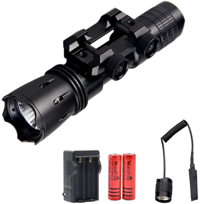 WINDFIRE Tactical Flashlight Rail Mount Professional Weapon Light Airsoft Rail Mount Hunting Flashlight Rechargeable 1200 Lumens with Remote Pressure Switch (with Batteries &Charger)