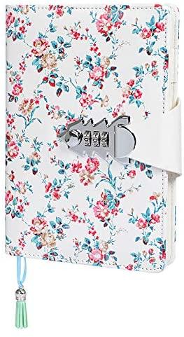 ARRLSDB Lock Journal Combination Lock Writing Travel Diary A5 PU Leather Password Notebook Locking Personal Diary (Red)