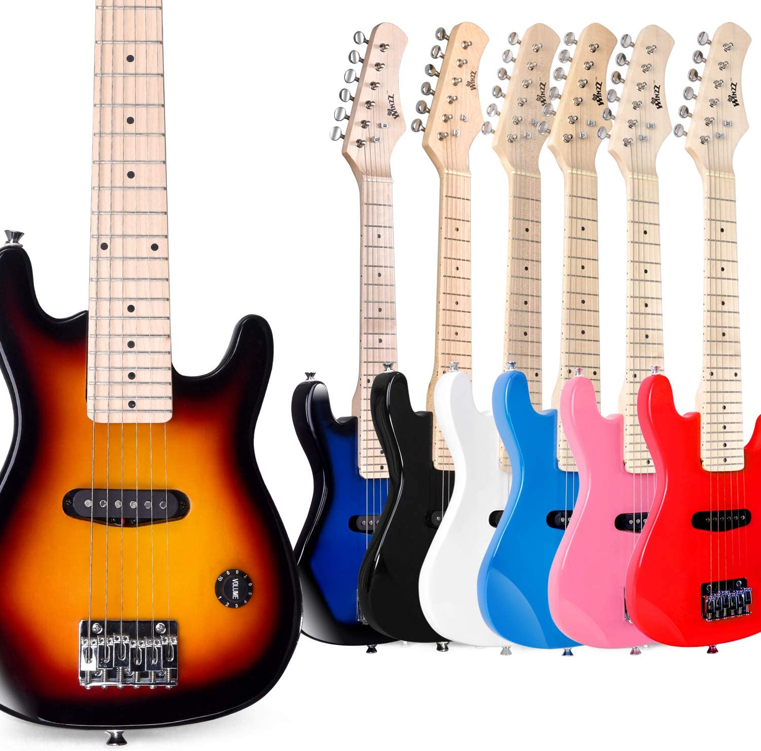 WINZZ 30 Inches Real Kids Electric Guitar with Beginner Kit, Right Handed, Sunburst
