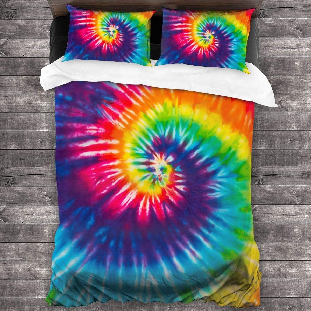 BLUBLU Super Soft Duvet Cover Set Microfiber Comforter Bed Set with Zipper Closure, Machine Washable(Includes 1 Duvet Cover, 2 Pillowcases) - Tie Dye Colorful Rainbow