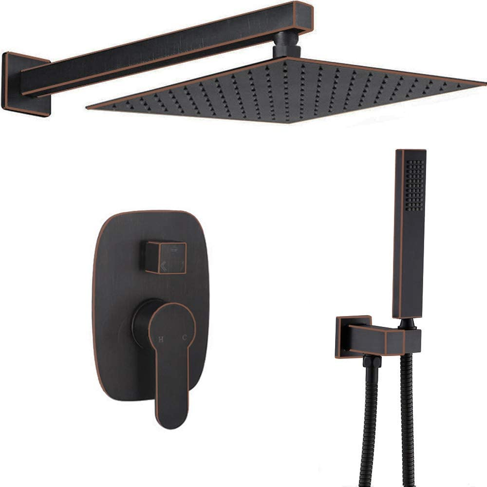 AYIVG Oil Rubbed Bronze Shower System Wall Mount 10 Inch Rainfall Shower With Handheld Shower Head Mixer Set